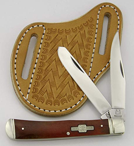(Slanted Pancake Sheath by TOP HAND GEAR with ROUGH RIDER RED Smooth Bone Trapper knife, Package Deal)