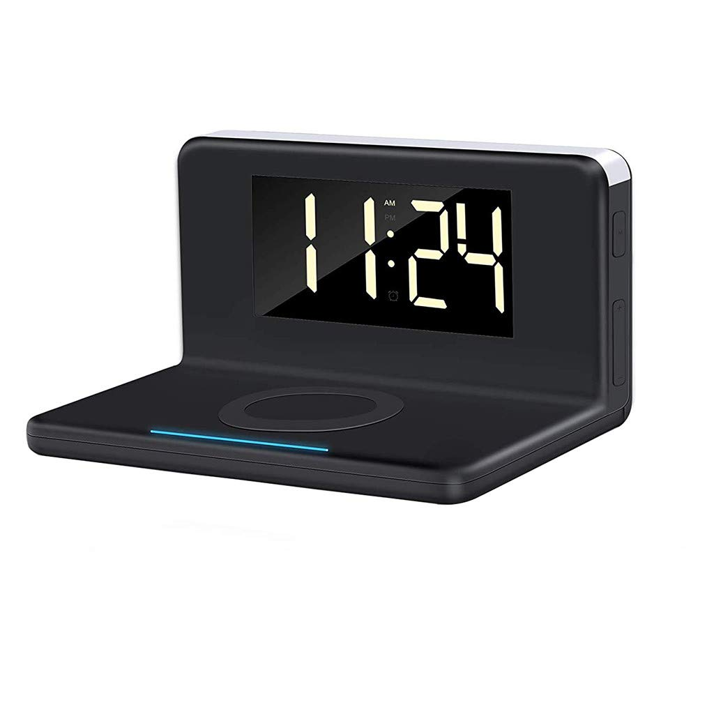 CHshe®-🍒-Cargador Inalámbrico, Reloj Despertador Dormitorio ...