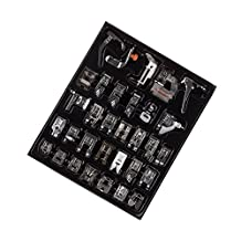 Onerbuy Professional 32Pcs Multifunction Sewing Machine Presser Feet Set Snap-on Walking Foot Spare Parts Accessories for Low Shank Brother, Singer, Viking, Janome, Kenmore