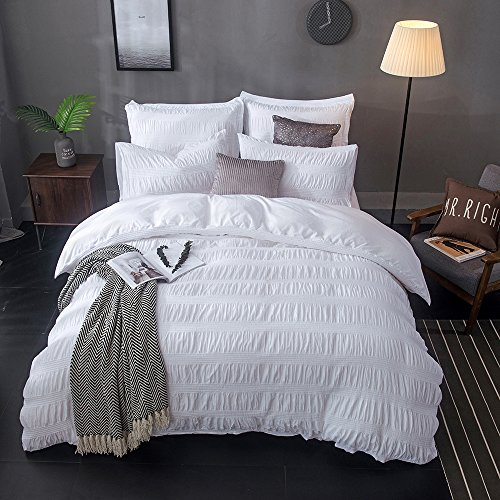 Merryfeel Cotton Duvet Cover Set,100% Cotton Yarn Dyed Seersucker Comforter Cover with 2 Pillowshams- King White (Bed Seersucker Sheets)