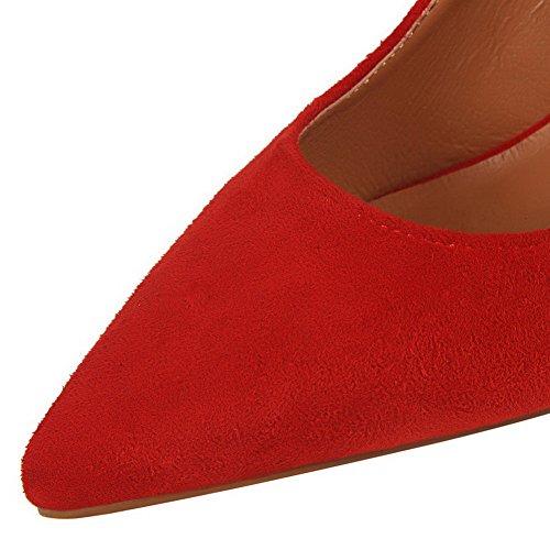 AalarDom Damen Blend-Materialien Stiletto Spitz Zehe Ziehen Auf Pumps Schuhe mit Schleife Rot-Fransig