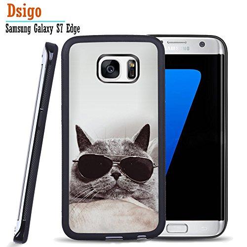 Galaxy S7 Edge Case, Samsung S7 Edge Black Case, Dsigo TPU Black Full Cover Protective Case for New Samsung Galaxy S7 Edge - Bespectacled funny cat