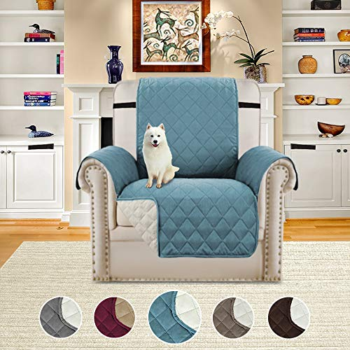 H.VERSAILTEX Reversible Faux Suede Furniture Protector, Stay in Place with Adjusts Straps, Features Protect from Dogs/Cats, Spills, Wear and Tear (79 inch x 68 inch for Recliner, Smoke (Faux Suede Slipcover)