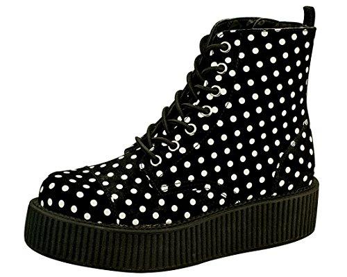 [T.U.K. Shoes V8848L Polka dot Combat Boots] (Fashion Bloggers Halloween Costumes)
