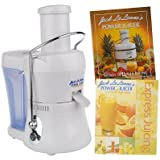 Jack Lalanne Compact Power Juicer Express Deluxe MT-1020 with 2 Recipe Books, White
