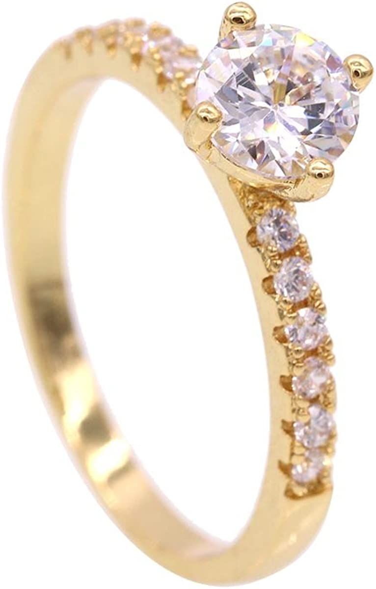 JINY Jewelry Gold Plated Heart and Arrows Cut Cubic Zirconia Solitaire Wedding Engagement Rings