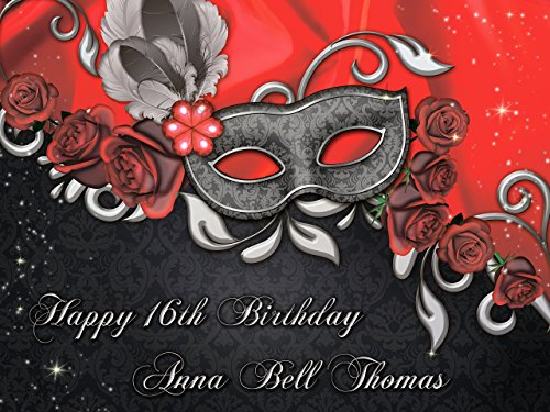 Masquerade Mask Party Poster Custom, masquerade mask Banner, Gold and Black Wall Decor Masquerade decor Birthday Banner Party Decoration- sizes 36x24, 48x24, 48x36 Personalized party ()