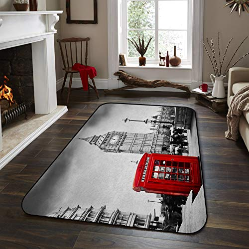 Fantasy Star Non-Slip Area Rugs Room Mat- Big Ben and Red Phone Booth in London Home Decor Floor Carpet for High Traffic Areas Modern Rug Kitchen Mats Living Room Pads, 5' x 7'
