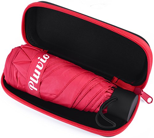 Compact Mini Travel Umbrella with Case- Lightweight Ultra Small Pocket Size (Red) (Golfers Sun Protection)