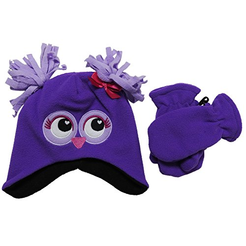 Owl Gloves (Mashed Clothing Infant & Toddler Fun & Cute Winter Hat Cap/Gloves Sets (Purple Fuzzy Owl))