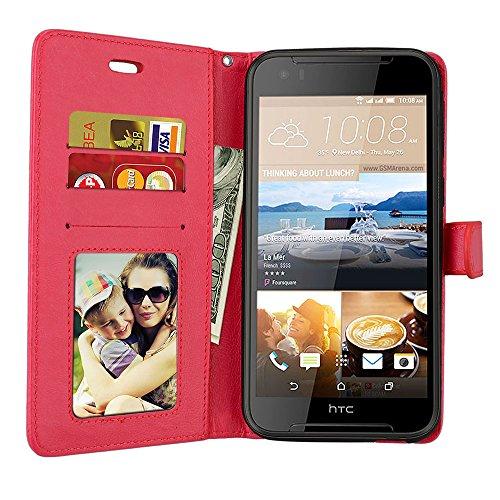 YHUISEN Color sólido de la PU superior de cuero billetera hebilla magnética diseño Flip folio funda protectora para HTC Desire 830 ( Color : Black ) Red