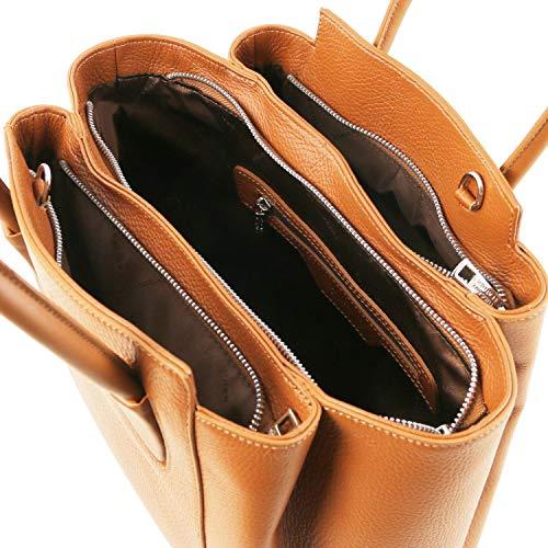In Pelle Leather A Borsa Blu Tuscany Mano Tulipan Cognac Scuro XpU1Uxg