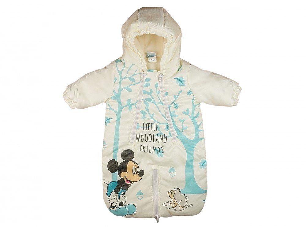 Baby KINDERWAGEN-SACK / FUSS-SACK Mickey Mouse, WARM GEFÜTTERTER Anorak mit Kapuze in Größe 56-62, 68-74, WINTER-Fußsack oder SCHNEE-ANZUG wasser-abweisend, AUTO-KOMPATIBEL