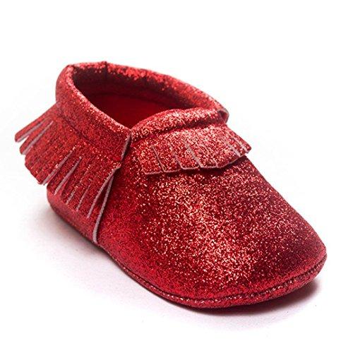 BZLine® Baby Kinderbett Quasten Pailletten weiche Sohle Sneaker Schuhe Babyschühchen Rot