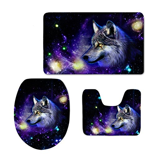 chaqlin Cool Printing Space Wolf Toilet Seat Cover Thick Flannel Nonslip Bathroom Carpet