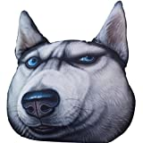 THREE EYES Throw Pillow 40x38cm Sofa Pillow Travel Pillow 3D Lifelike Cute Pet Animal Adorable Cartoon Gift for Car or Household Couch Car Pillow Pet Pillow 15.7x15inch (Husky)
