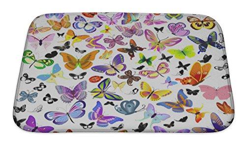 Gear New Set of Ladybug & Butterfly Bath Rug Mat No Slip Microfiber Memory Foam (Slip 5569)