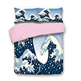 Cal King Vs Eastern King Pink Duvet Cover Set,King Size,Far Eastern Painting Oceanic Storm Theme Tsunami Wind Water Artwork,Decorative 3 Piece Bedding Set with 2 Pillow Sham,Best Gift for Girls Women,Teal Blue White