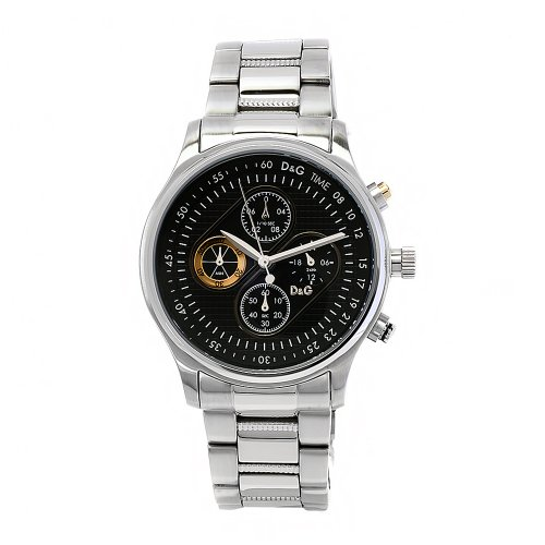 D&G Dolce & Gabbana Men's DW0430 Mentone Stainless Steel Black Chronograph Dial Watch