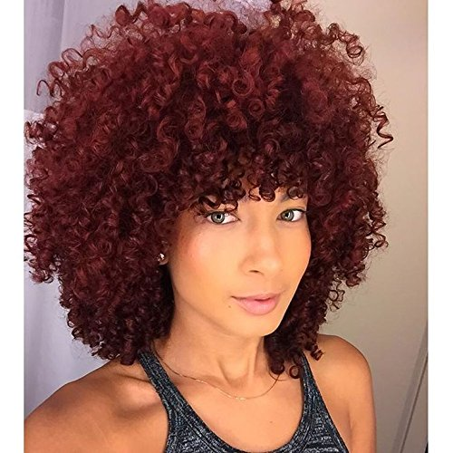 Afro Curly Hair Wigs Full Red Wig Short Curly Wigs for Women Kinky Curly(red) (Sexy Short Curly Hair Styles)