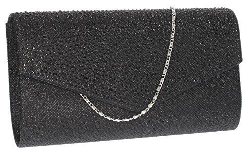 SwankySwans Femme Montary Paillettes Strass enveloppe d'embrayage Sac d'embrayage Noir