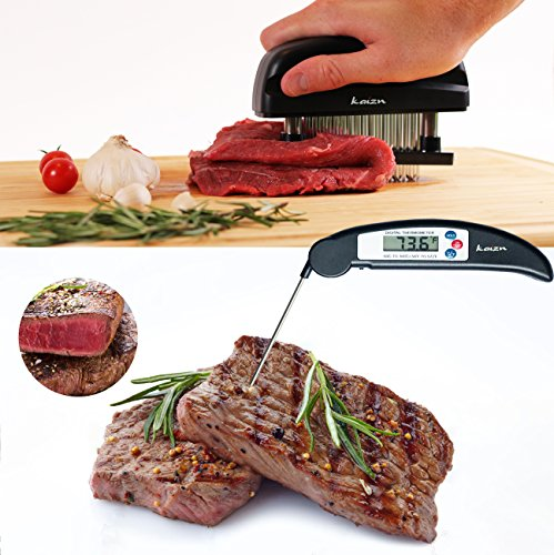 Meat Tenderizer Needle Tool + Instant Read Meat Thermometer for Barbecue, Grill, and Oven