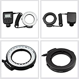 Lightdow RF-550D 48 Pieces Macro LED Ring Flash Light with LCD Screen Display