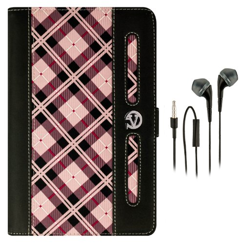 Dauphine Portfolio – Faux Leather Flip Hand-Held Cover Case (PINK CHECKER PLAID) fits ASUS Google Nexus 7 Android Touch Tablet + Black Hands-free Earphones (Headphones with Microphone) (Handheld Checkers)