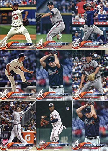 2018 Topps Update Series Baseball Atlanta Braves Team Set of 18 Cards: Michael Soroka(#US18), (#US43), Freddie Freeman(#US44), Nick Markakis(#US48), Michael Soroka(#US68), Mike Foltynewicz(#US72), Daniel Winkler(#US93), Ozzie Albies(#US162), Freddie Freeman(#US168), Adam Duvall(#US171), Brandon McCarthy(#US224), Jesse Biddle(#US231), Ronald Acuna Jr.(#US250), Ronald Acuna Jr.(#US252), Kevin Gausman(#US265), Arodys Vizcaino(#US284), plus more
