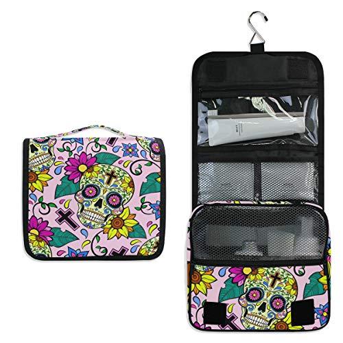 AUUXVA Hanging Toiletry Bag Floral Sunflower Sugar Skull Travel Cosmetics Bag Portable Toiletry Kit for Women Men]()