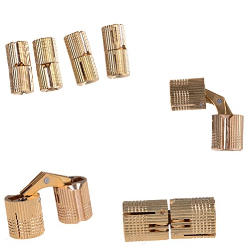SNNplapla 4pcs 8MM Cylindrical Brass Barrel Invisible Furniture Hinge Concealed Hinge (180 Degree Opening Angle)