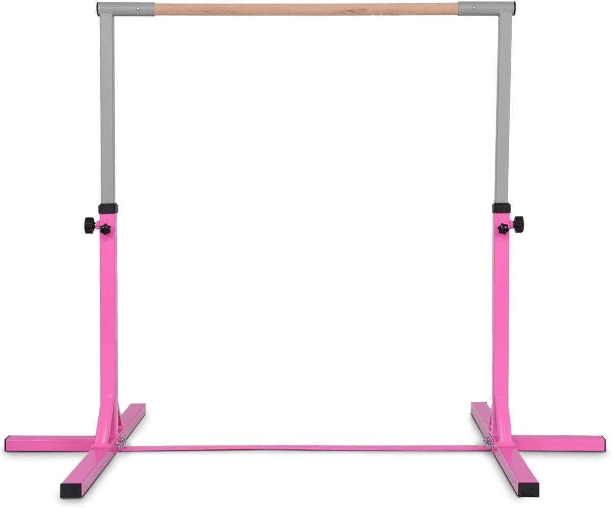 Gymnastics Bar Junior Training Steel Bar Height Adjustable for Kids Home Training Gymax Horizontal Bar