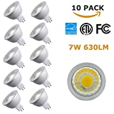 NICKLED (10 Pack) 7Watt MR16 Dimmable High Lumen LED Bulb, 630lm, 5000K-Natural White, Replace 50W Halogen Bulbs, Cold Forging Aluminum Recessed Spotlight for Living Room Bedroom Office Mall