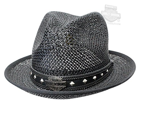 H-D Mens B&S Logo with Hexagon Studded Band Twisted Black Straw Hat - SM