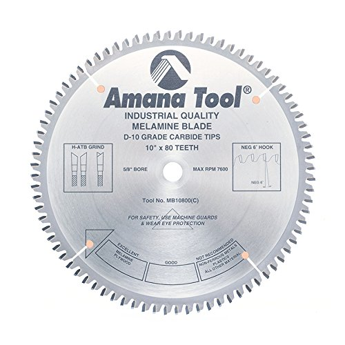Amana Melamine Blade (Amana Tool MB10800 Double Face Melamine 10-Inch x 80 Tooth H-ATB 5/8-Inch Bore Saw Blade)