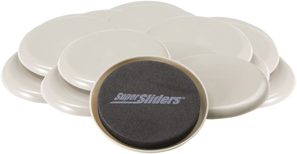 """SuperSliders 4712795N Reusable Furniture Sliders for Carpet- Quickly and Easily Move Any Item, 3-1/2"""" Linen (16 Pack)"""