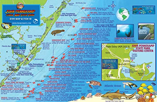 John Pennekamp Coral Reef State Park Dive Map & Fish Identification Waterproof Card