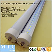 Led T8 8 Feet Tube Light FA8 Model Single Pin 36W 4000lm 6000K (Bright White ) Frosted Cover ,Advance Heat sink And More Luminous (Brightness) in less Wattage , No Need Ballast Direct Line Voltage 85-265V Extra Bright For Sale , Pack of 20 Pcs = $460.00 Cad 1 Pcs=$23.00 Cad Canadian Company Canadian Stock ,Special Sale for Limited Time For $379.00 1 Pcs Cost only $19.00 Cad