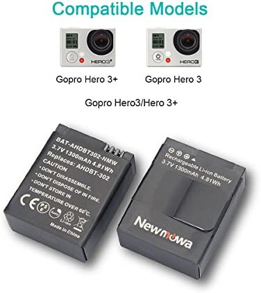 Newmowa 1300mAh Rechargeable AHDBT 302 Remplacement Batterie (2 Pack) et Rapid 3 canaux Chargeur USB pour Gopro Hero 3 3+ AHDBT 301 302.