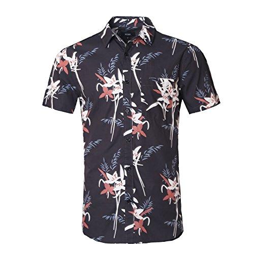 NUTEXROL Mens Standard-Fit 100% Cotton Palm Tree Beach Print Hawaiian Shirt
