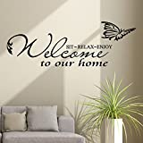 Welcome Sticker Wall Quotes Decor Decorations Living Room Large Inspirational To Our Home On The - Wall Sticker