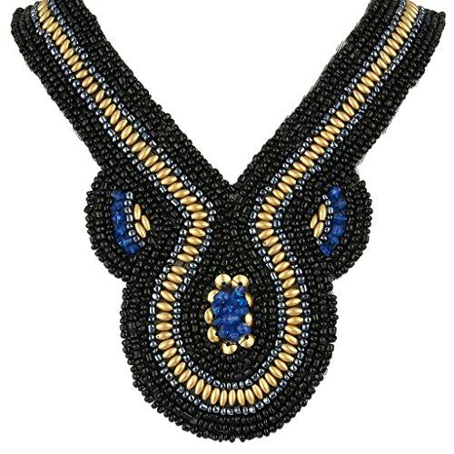 BriLove Women's Fashion Resin Beads Pendant Handmade Knit Collar Ribbon Tie Statement Necklace Black