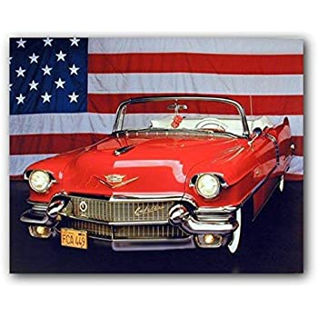 1956 Red Cadillac with US Flag Vintage Classic Car Wall Decor Art Print  Poster (16x20)
