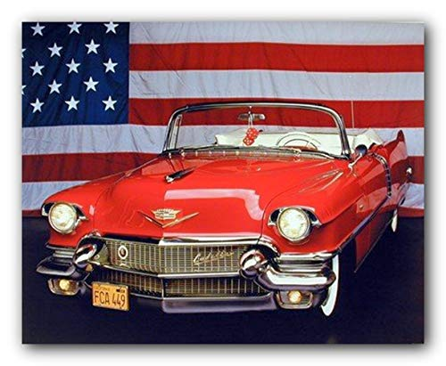 - 1956 Red Cadillac with U.S. Flag Vintage Classic Car Wall Decor Art Print Poster (16x20)