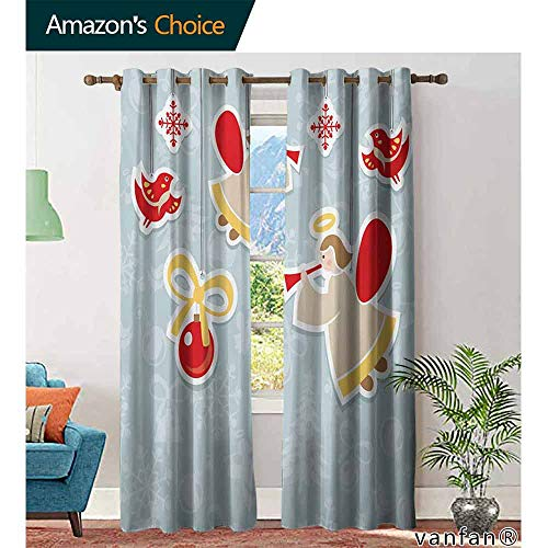 (Angel Curtain Wand,Fairy Playing Trumpet Halo Spiritual Wings with Xmas Birds Balls Celebrationfor Living Room Dining Room,Red Beige Blue Grey W96 x L96)