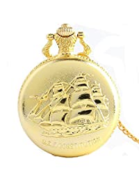 XBLAA Creative Boat Carved Golden Vintage Quartz Pocket Watch Chain Men and Women Commemorative Table