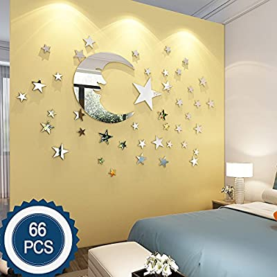 Moon and Stars Wall Stickers - 30cm Largest Moon with 66 Pieces Different Size Stars - for Baby Kid Room Decoration - Fairy atmesphere creation