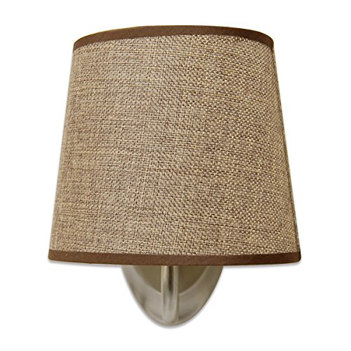 Dream Lighting NEW VERSION 12Volt DC Fabric Light Fixture with Flared Wall Sconce Shade - Wall Mount LED Decor Lamp with Switch - 0.24A, 3W, Brown Burlap