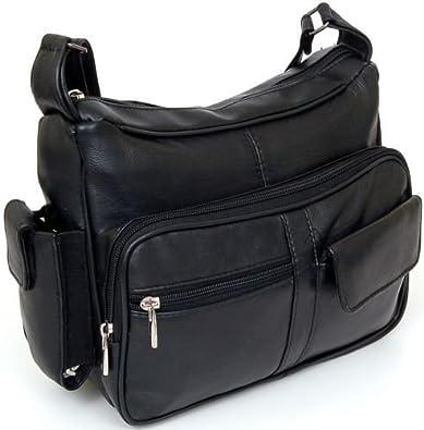Women/'s Leather Organizer Purse Multi Pocket Handbag Shoulder Bag Satchel Tote