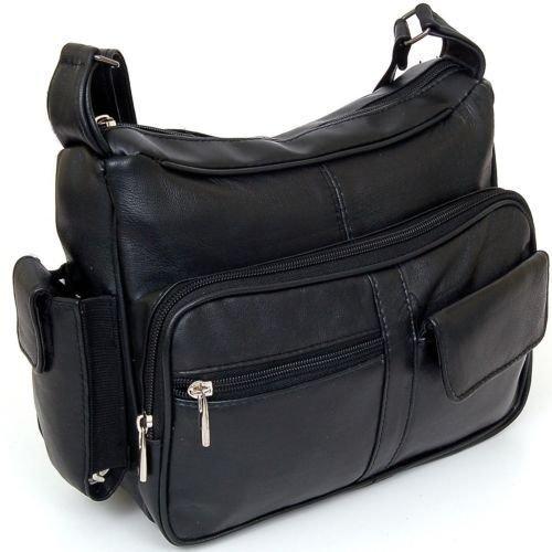 Women's Leather Organizer Purse Shoulder Bag Multiple Pockets Cross Body Handbag by Marshal